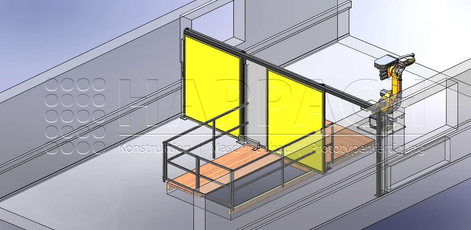 Robotermontage mit Schutzzaun CAD-W